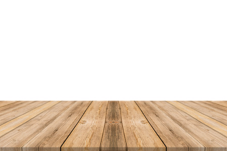 Photo pour Empty light wood table top isolate on white background. Leave space for placement you background - can be used for display or montage or mock up your products. - image libre de droit