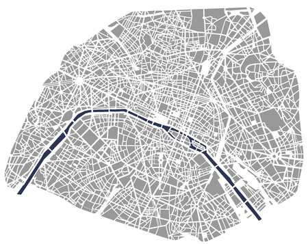 Ilustración de Map of the city of Paris, France - Imagen libre de derechos