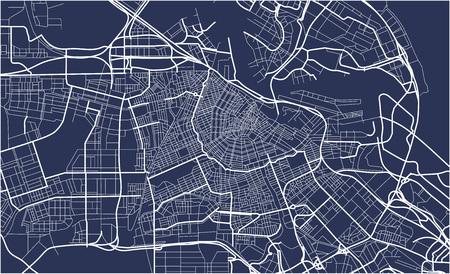 Illustration pour City Map of Amsterdam, Netherlands - image libre de droit