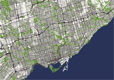 Illustration pour vector map of the city of Toronto, Canada - image libre de droit