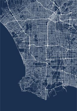 Illustration pour map of the city of Los Angeles, USA - image libre de droit