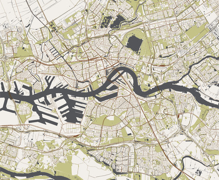 Illustration pour map of the city of Rotterdam, in South Holland, Netherlands - image libre de droit