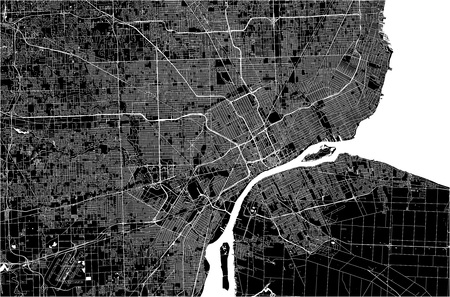 Illustration pour vector map of the city of Detroit, Michigan, USA - image libre de droit