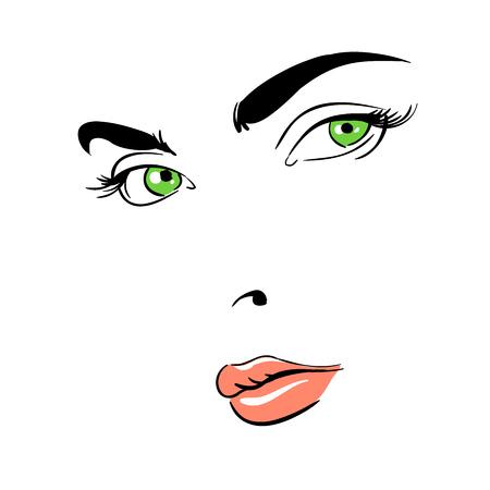 Ilustración de A womans face. Green-eyed. Thoughtful. - Imagen libre de derechos