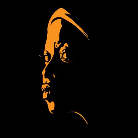 Ilustración de African woman portrait silhouette in backlight - Imagen libre de derechos