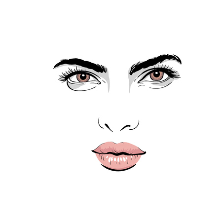 Illustration pour A woman's face portrait with outlines and digital sketch hand drawing illustration. - image libre de droit