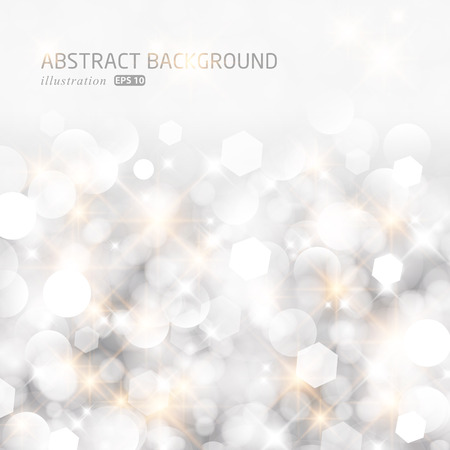 Illustration pour Glittery lights silver abstract Christmas background. - image libre de droit