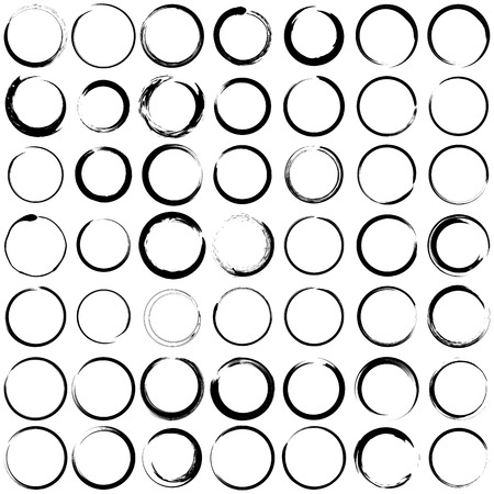 Ilustración de Set of  grunge circle brush strokes for frames. - Imagen libre de derechos