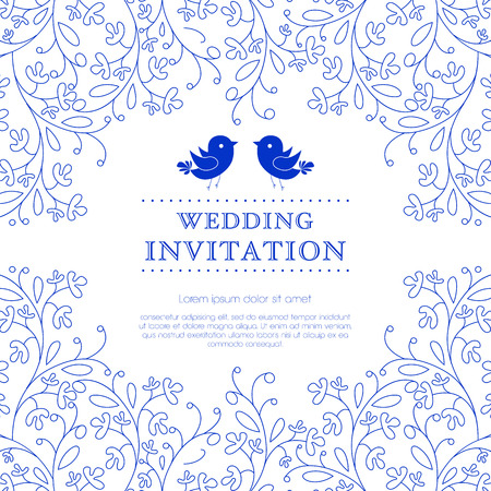 Illustration pour Wedding card or invitation with floral ornament background. Perfect as invitation or announcement.  - image libre de droit