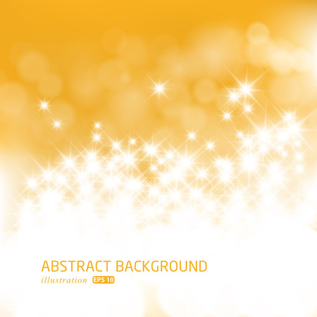 Illustration pour Gold festive Christmas background. Elegant abstract background with bokeh defocused lights and stars.  - image libre de droit