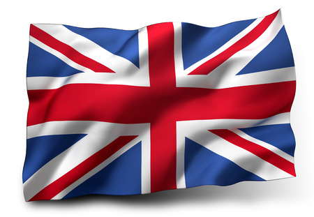 Photo pour Waving flag of the United Kingdom isolated on white background - image libre de droit