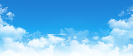 Photo for Panoramic cloudscape. High resolution blue sky background. White clouds composition in daylight - Royalty Free Image