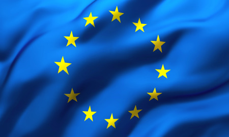 Photo for Full frame background of European flag blowing in the wind - Royalty Free Image
