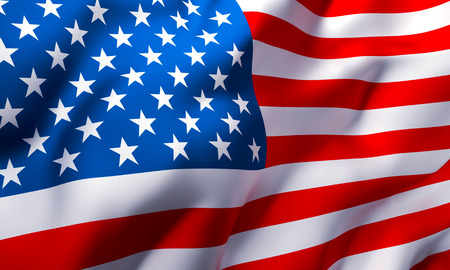 Foto de Full frame background of USA Country flag blowing in the wind - Imagen libre de derechos