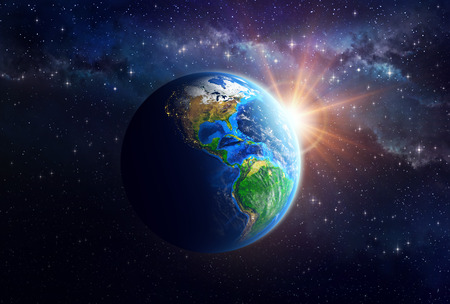 Photo pour Illuminated face of the Earth in space. Detailed view of American continent. Elements of this image furnished by NASA - image libre de droit