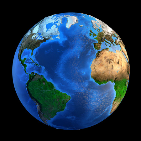 Foto de Detailed picture of the Earth and its landforms, isolated on black. Elements of this image furnished  - Imagen libre de derechos