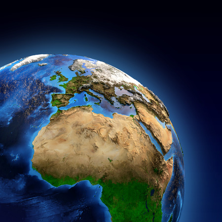Foto de Detailed picture of the Earth and its landforms, view of European, African and Asian continent. Elements of this image furnished  - Imagen libre de derechos