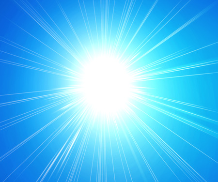 Foto de Rays of sunlight on blue background - Imagen libre de derechos