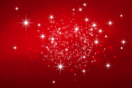Photo for Shiny red Christmas background with star lights explosion - Royalty Free Image