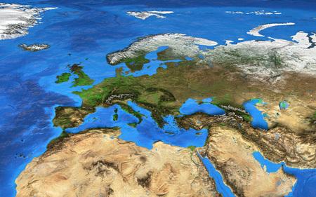 Foto de Detailed satellite view of the Earth and its landforms.   - Imagen libre de derechos