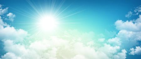 Foto de High resolution morning sky background, sun breaking through white clouds - Imagen libre de derechos