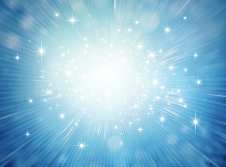 Foto de Festive bright light exploding inside a blue glittering background - Imagen libre de derechos