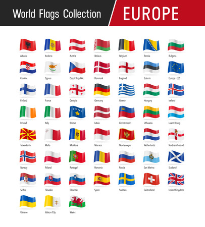 Illustration pour Flags of Europe, waving in the wind - Vector world flags collection - image libre de droit