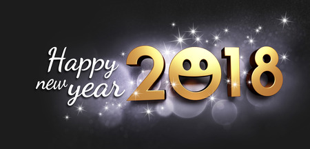 Foto de Joyful New year date 2018, smiling face and Greetings, on a glittering black background - 3D illustration - Imagen libre de derechos