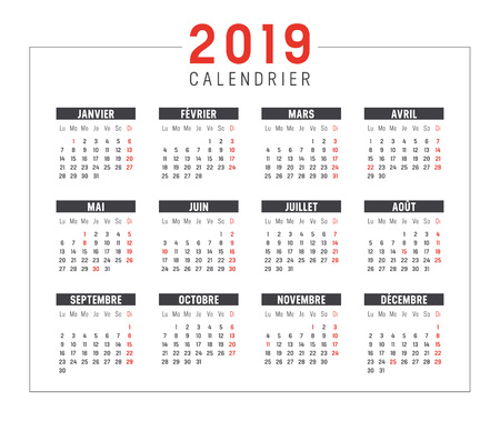 Illustration for Year 2019 minimalist black and red calendar, in French language, on white background. Vector template. - Royalty Free Image
