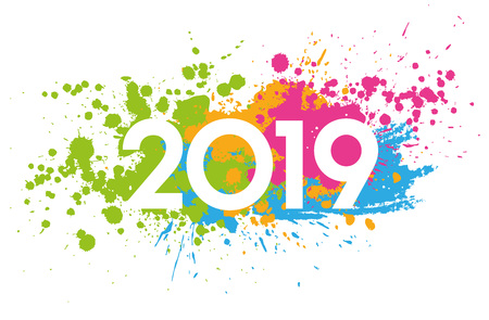 Photo pour New Year 2019 date painted with colorful stains - image libre de droit