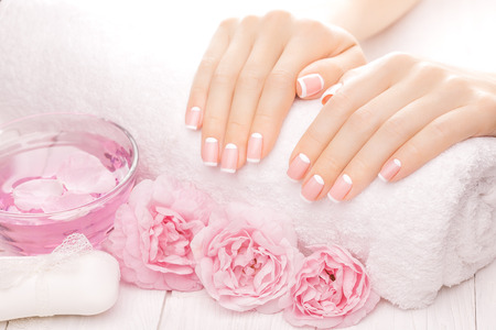 Photo for french manicure with rose flowers. spa - Royalty Free Image