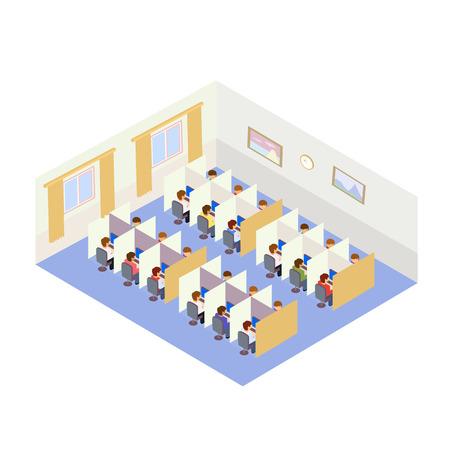 Illustration pour Call Center Jobs People. Isometric flat style - image libre de droit