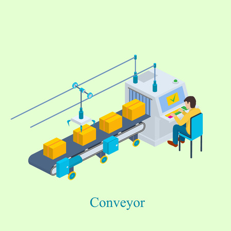 Illustration for Conveyor vector illustration. Isometric industrial production line packaging new goods. Production line with conveyor belt. - Royalty Free Image