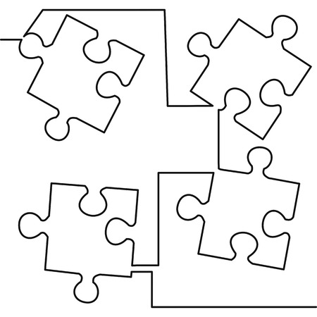 Illustration pour Continuous one line drawing of four pieces of jigsaw on white background vector illustration. Black thin line of puzzle icon. - image libre de droit