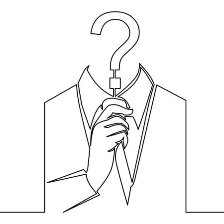 Illustrazione per Single continuous line art incognito, unknown person, silhouette of man anonymous on white background - Immagini Royalty Free