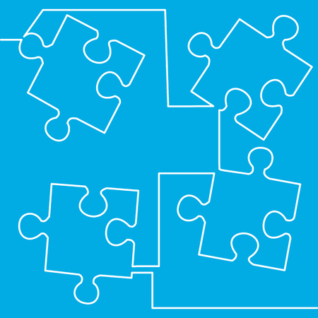 Illustration pour One continuous line drawing Simple Puzzle four piece business presentation Vector illustration - image libre de droit