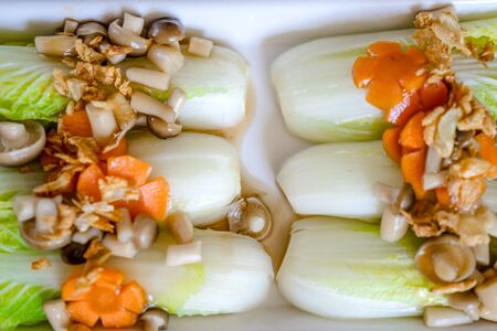 close up lettuce mushroom, carrot with oyster sauce