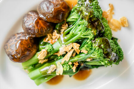 close up mushroom, broccoli with oyster sauce