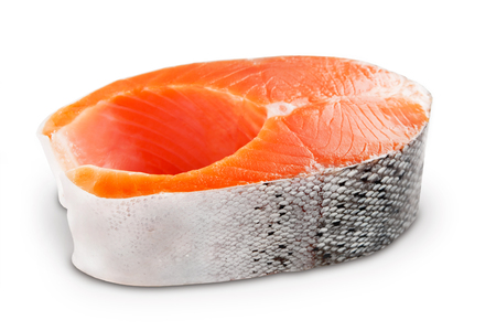 Photo pour Steak fresh salmon isolated on white background - image libre de droit