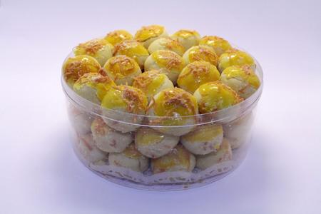 Foto de Nastar, a typical Indonesian or Southeast Asian Pineapple tart cake. Probably influenced by Dutch cuisine. - Imagen libre de derechos