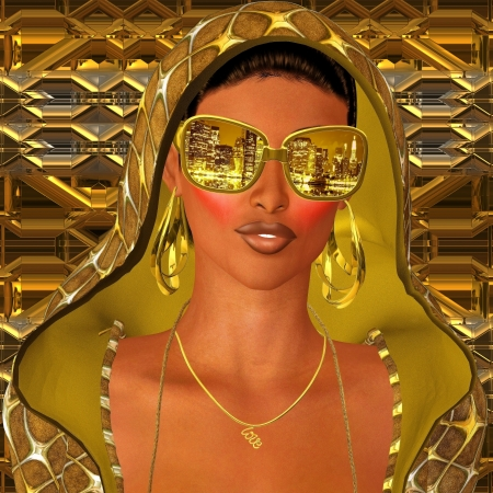 Photo for City night club girl in gold hood  - Royalty Free Image