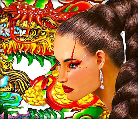 Asian woman with dragon background. Long pony tail hairstyle and colorful makeup.