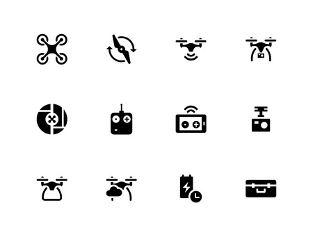 Illustration pour Quadcopter and flying drone icons on white background. - image libre de droit