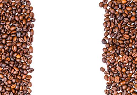 Foto de coffee beans top view copy space, white back ground - Imagen libre de derechos