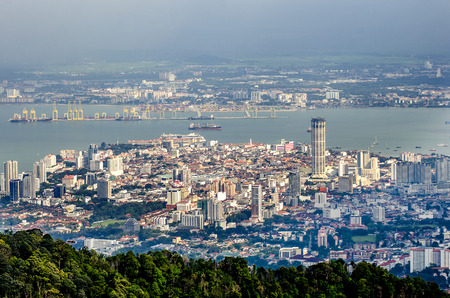 Foto de Top view of Georgetown, view from Penang hill, capital of Penang Island, MALAYSIA. - Imagen libre de derechos