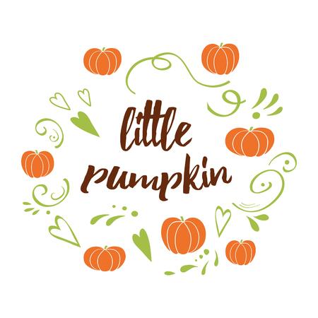 Illustration pour Little pumpkin - baby shower hand drawn fall design with green cute ornament - image libre de droit