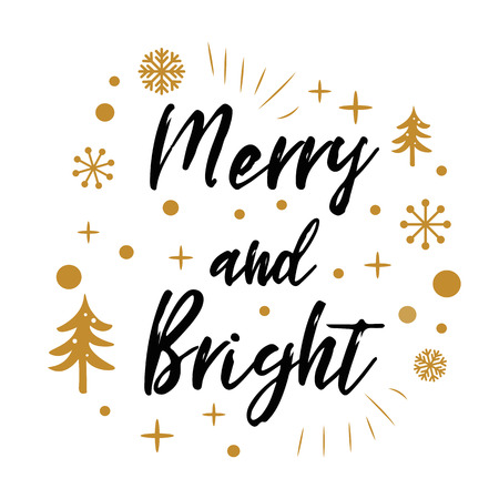 Illustration for Merry and Bright. Cute Christmas sign with golden tree, snow on white - Royalty Free Image
