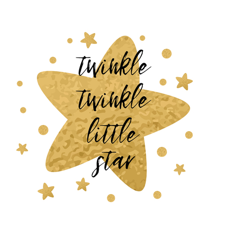 Illustration pour Twinkle twinkle little star text with cute golden stars for girl baby shower card template. Vector illustration. Banner for children birthday design, label, sign, print. Inspirational quote - image libre de droit