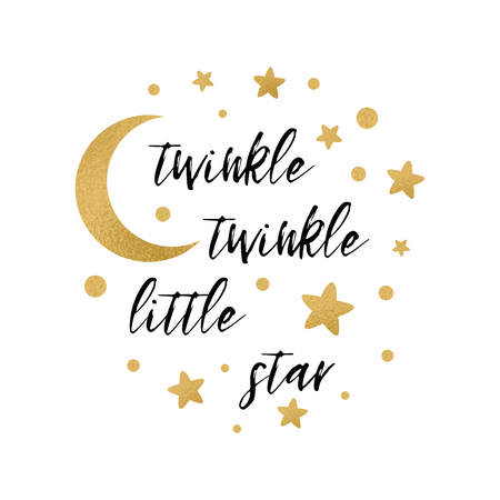 Ilustración de Twinkle twinkle little star text with cute gold star and moon for girl baby shower card template Vector illustration. Banner for children birthday design, logo, label, sign, print. Inspirational quote - Imagen libre de derechos