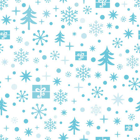 Ilustración de Christmas and New Year seamless pattern with blue snowflakes, snow, Christmas tree, gifts. Winter design for wallpaper, packaging, wrap, wrapping. Vector illustration. Cute textile or fabric template - Imagen libre de derechos